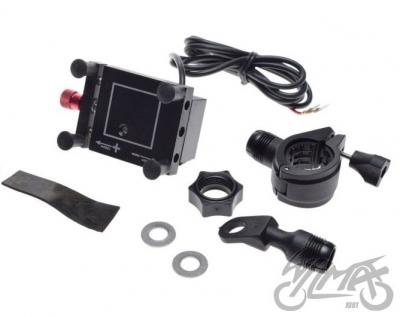 Uchwyt GPS na motocykl typu imadło z ładowaniem USB
